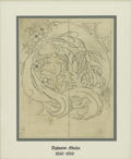 Illustration:Advertising, Attributed to ALPHONSE MARIA MUCHA (Czechoslovakian 1860-1939).Untitled, c. 1920. Pencil on paper. 24in. x 20.5in.. Ini...