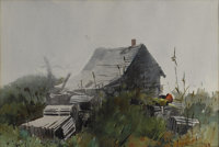 FORREST ORR (American 20th Century) Farmhouse Watercolor 13.25in. x 20in. Signed lower right  Forrest Orr was a