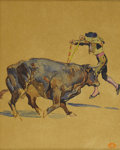 Illustration:Magazine, EDWARD PENFIELD (American 1866-1925). The Banderillero, c.1910. Watercolor and gouache on paper. 13.25in. x 10.75in.. A...