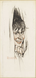 Illustration:Magazine, NORMAN ROCKWELL (American 1894-1978). Sketch of a Boy in aShower, c. 1938. Charcoal and colored pencil on board.9.75in...