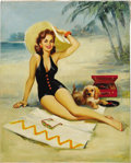 "Illustration:Pin-Up, JERRY ""T. N."" THOMPSON (American 20th Century). Untitled, c.1981 . Oil on canvas . 30in. x 24in. . Signed lower left. ..."