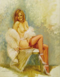Illustration:Pin-Up, ED TADIELLO (American 20th Century) Untitled . Oil oncanvasboard . 18in. x 14in.. Signed lower left. ...