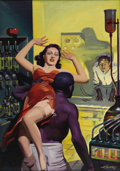 Illustration:Magazine, HUGH JOSEPH WARD (American 1909-1945) . Cover: Spicy Mystery Stories, c. 1940 . Oil on canvas . 30in. x 21.5in. . Signed...
