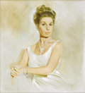 Illustration:Pin-Up, FRITZ WILLIS (American d. 1979). Woman in a White Dress . Oil on board . 22in. x 20in.. Signed lower left. ...