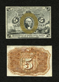 Fractional Currency:Second Issue, Fr. 1232SP 5c Narrow Margin Specimen Pair Second Issue Choice New. But for the face having a small mounting remnant, this is... (Total: 2 notes)