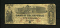 Obsoletes By State:Rhode Island, Providence, RI- Bank of the Republic $5 Feb. 4, 1856. The U.S. Capitol is unfinished on this $5 that is of the red Five over...