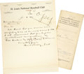 Autographs:Others, 1919-20 Branch Rickey Signed Contract & Handwritten SignedLetter. Arguably baseball's greatest visionary, Rickey's inventi...