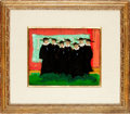 Books:Original Art, [Featured Lot] [Folk Art] Donald Vogel. Original SIGNED OilPainting, Waiting for the Bus. [N.d.]. Oil on canvas. ...