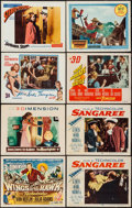 "Movie Posters:Adventure, Sangaree & Others Lot (Paramount, 1953). Title Lobby Card (11""X 14""), Lobby Cards (7) (11"" X 14""), & Uncut Pressbook (24Pa... (Total: 9 Items)"