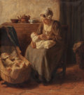 Paintings, BERNARD JEAN CORNEILLE POTHAST (Dutch, 1882-1966). A Mother's Touch. Oil on canvas. 29-1/2 x 25-1/2 inches (74.9 x 64.8 ...