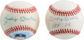 "Autographs:Baseballs, Circa 1990 Mickey Mantle Signed ""HOF '74"" & Painted BaseballsLot of 2...."
