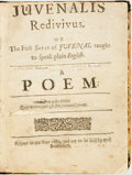 Books:Literature Pre-1900, Wood, Thomas. Juvenalis Redivivus. Or The First Satyr ofJuvenal taught to speak plain English. A Poem. [London:...