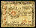Colonial Notes:Continental Congress Issues, Continental Currency January 14, 1779 $4 Fine.. ...
