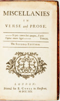 Books:Literature Pre-1900, Pack, Richardson. Miscellanies in Verse and Prose. TheSecond Edition. London: for E. Curll, 1719. Small 4to. A...