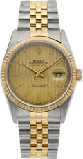 Timepieces:Wristwatch, Rolex Ref. 16233 Gent's Two Tone Oyster Perpetual Datejust, Tapestry Dial, circa 1995. ...