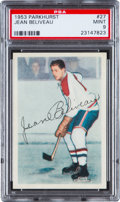 Hockey Cards:Singles (Pre-1960), 1953 Parkhurst Jean Beliveau #27 PSA Mint 9 - Pop One of One! ...