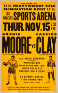 Boxing Collectibles:Memorabilia, 1962 Cassius Clay vs. Archie Moore On-Site Poster....