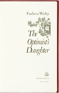 Eudora Welty. SIGNED/LIMITED. The Optimist's Daughter. New York: Random House, 1972. First edit