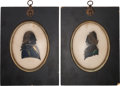 Political:3D & Other Display (pre-1896), George and Martha Washington: Silhouettes on Glass....