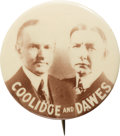 Political:Pinback Buttons (1896-present), Coolidge & Dawes: Large Size Real Photo Jugate....