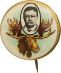 Political:Pinback Buttons (1896-present), Theodore Roosevelt: Colorful and Sought-After Bull Moose PicturePin....