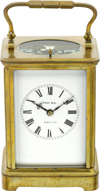 French Gilt Brass Hour Striking & Five Minute Repeating Carriage Clock For James Mix, Albany NY