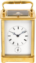 Timepieces:Clocks, French Gilt Brass Quarter-Striking & Repeating Carriage Clock With Alarm. ...