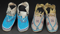 TWO PAIRS OF PLAINS BEADED HIDE MOCCASINS c. 1910