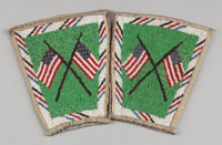 A PAIR OF SIOUX PICTORIAL BEADED HIDE CUFFS c. 1900