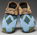 American Indian Art:Beadwork and Quillwork, A PAIR OF CREE BEADED HIDE MOCCASINS. c. 1900. ... (Total: 2 Items)