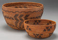 American Indian Art:Baskets, TWO MONO COILED BOWLS. c. 1900... (Total: 2 Items)