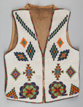 American Indian Art:Beadwork and Quillwork, A BLACKFEET BEADED HIDE VEST. c. 1900...