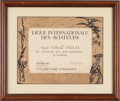 Transportation:Aviation, Aviation Pioneers: Multiple-Signed Award Certificate to WilmerStultz....