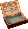 Political:3D & Other Display (pre-1896), William Henry Harrison: Elegant Wood Chest with Colorful Reverse-onGlass Portrait on Inside of Lid....