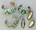 American Indian Art:Jewelry and Silverwork, SIX NAVAJO SILVER AND TURQUOISE JEWELRY ITEMS. c. 2000... (Total: 6Items)