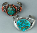 American Indian Art:Jewelry and Silverwork, TWO NAVAJO SILVER AND STONE BRACELETS. c. 1995. ... (Total: 2Items)