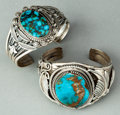 American Indian Art:Jewelry and Silverwork, TWO NAVAJO SILVER AND TURQUOISE BRACELETS. c. 1985. ... (Total: 2Items)