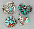 American Indian Art:Jewelry and Silverwork, FIVE SOUTHWEST SILVER AND STONE JEWELRY ITEMS. c. 1960... (Total: 5Items)