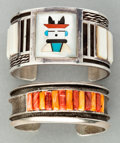 American Indian Art:Jewelry and Silverwork, TWO SOUTHWEST SILVER AND STONE BRACELETS. c. 1970... (Total: 2Items)