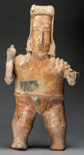 Pre-Columbian:Ceramics, Monumental Female Figure with Scepter and Bowl. c. 200 BC - 200AD...