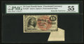 Fr. 1267 15¢ Fourth Issue Butterfly Fold Error PMG About Uncirculated 55