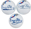 Golf Collectibles:Autographs, 2000's Buzz Aldrin Signed Golf Balls Lot of 3....