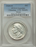 Commemorative Silver: , 1935/34 50C Boone -- Cleaning -- PCGS Genuine. Unc Details. NGC Census: (0/1273). PCGS Population (0/1893). Mintage: 10,008...