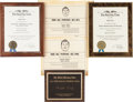 Football Collectibles:Others, 1967-68 Ralph Neely Personal Presentation Awards Lot of 5....
