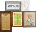 Football Collectibles:Others, 1960's and 1970's Ralph Neely Original Artwork, Etc. Lot of 5....