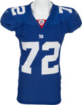 Football Collectibles:Uniforms, 2007 Osi Umenyiora Game Worn New York Giants Jersey - Used in 6 Sack Performance Vs. Eagles. ...
