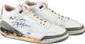 Basketball Collectibles:Uniforms, 1987-88 Michael Jordan Game Worn & Signed Jordan III Sneakers -Style Matched to Dunk Contest!...