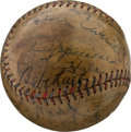 Autographs:Baseballs, 1933 Cleveland Indians Team Signed Baseball with Babe Ruth, Walter Johnson....