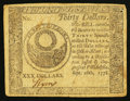Colonial Notes:Continental Congress Issues, Continental Currency September 26, 1778 $30 Very Fine.. ...