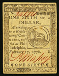 Colonial Notes:Continental Congress Issues, Continental Currency February 17, 1776 $1/6 Very Fine-ExtremelyFine.. ...